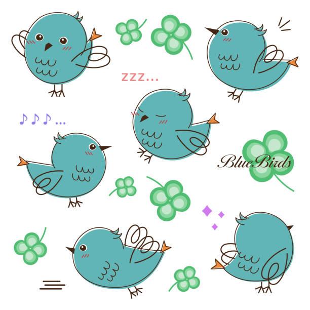 Various poses of birds vector art illustration