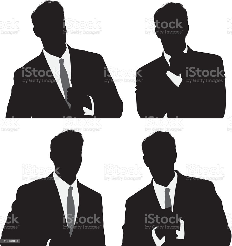 Various poses of businessman vector art illustration
