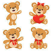 Various Poses Of Cartoon Teddy Bear