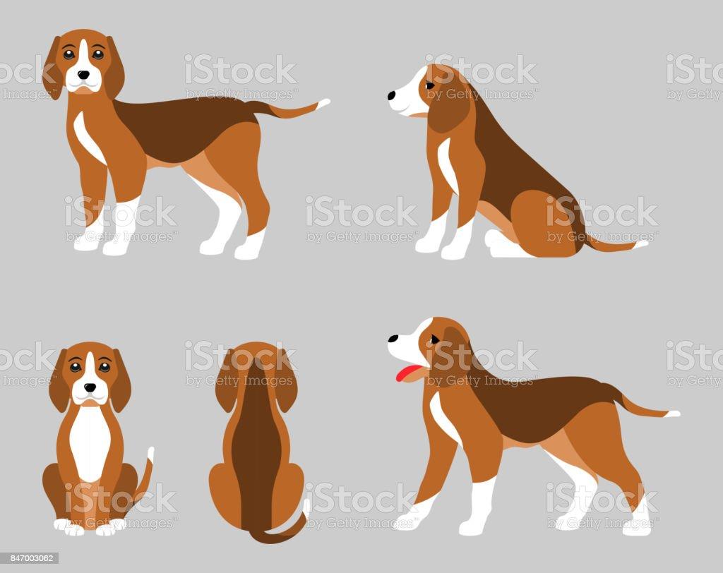 Varias Poses de perro Beagle, estilo plana Simple - ilustración de arte vectorial