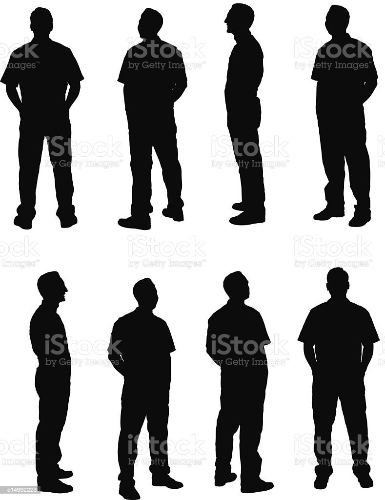 Various poses of mechanic vector art illustration