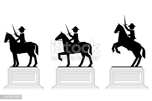 Statues of generals mounted on a horse.
