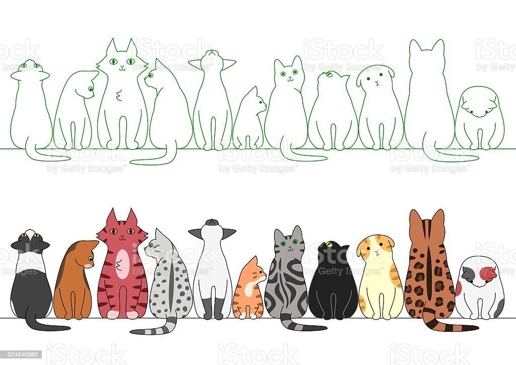 various posing cats in a row vector art illustration