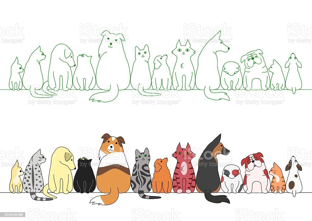 various posing dogs and cats in a row vector art illustration