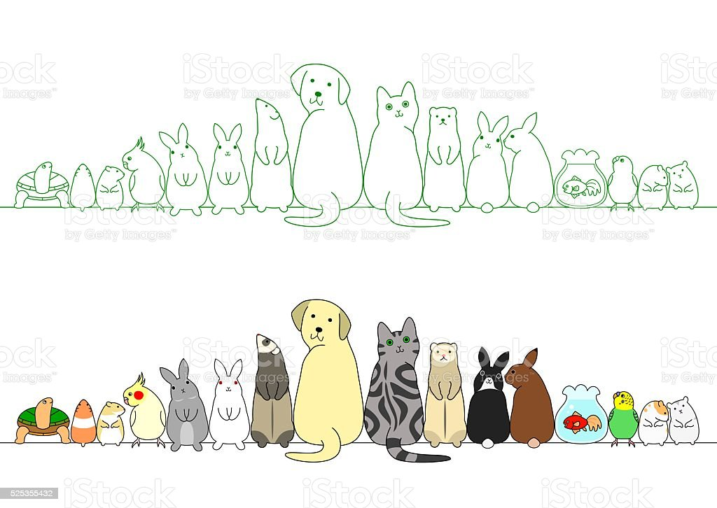 various posing pets in a row vector art illustration