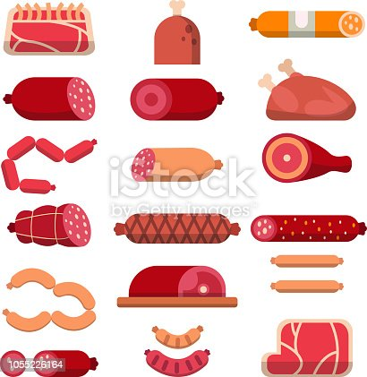 Various products of butcher shop. Vector flat illustrations of meat. Butcher food, ham and sirloin