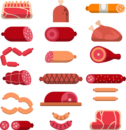Various products of butcher shop. Vector flat illustrations of meat