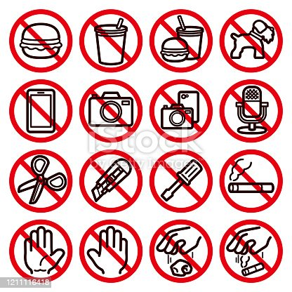 16 icon sets for various prohibitions