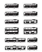 Various public transport buses - vector illustration