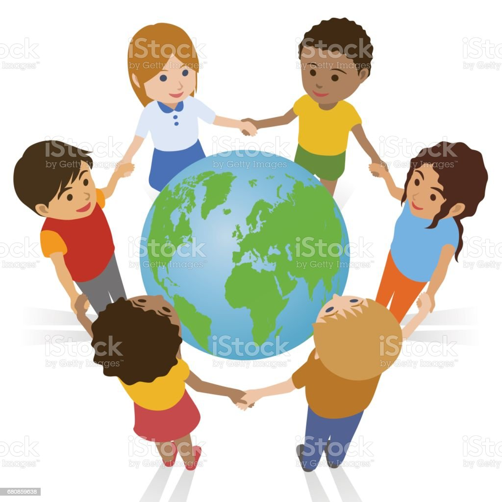 various race children join hands around the earth, international exchange vector art illustration