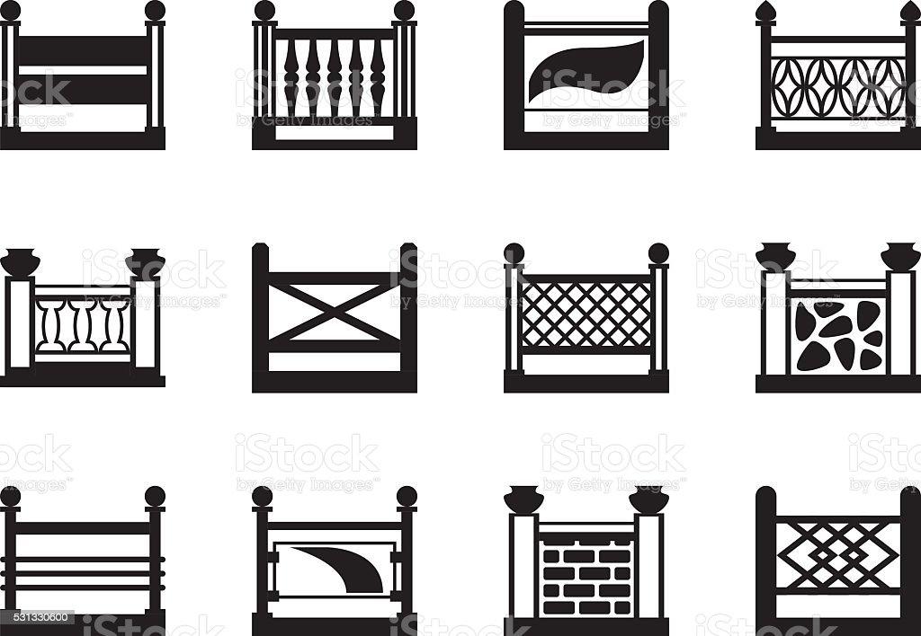Various railings for balconies vector art illustration