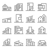 Various Real Estate Property Modern Minimal Style Buildings vector line icon set