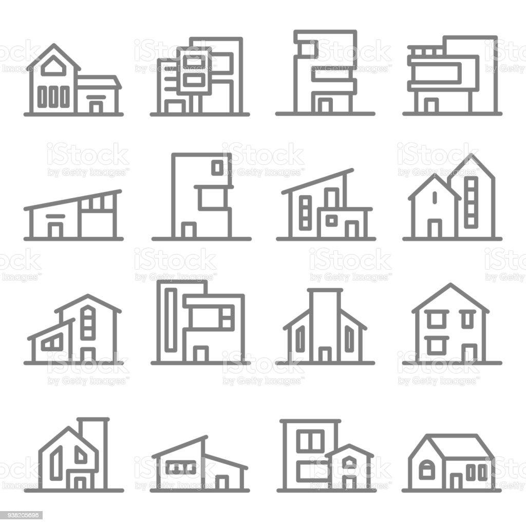 Varios edificios de estilo Real Estate propiedad moderna vector conjunto de iconos de línea - ilustración de arte vectorial