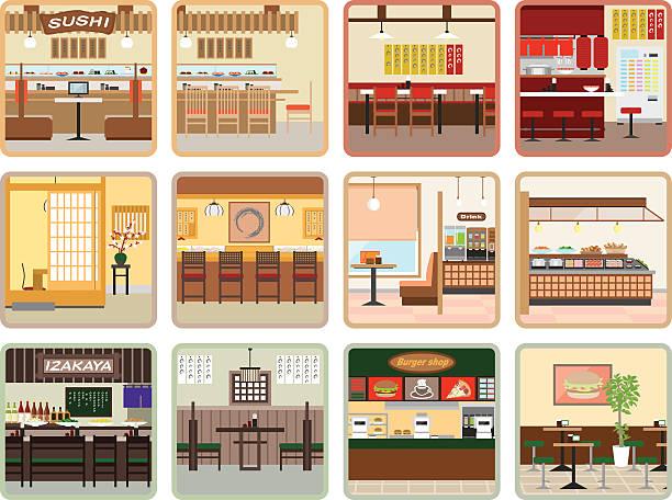 różne restauracji - bar lokal gastronomiczny stock illustrations
