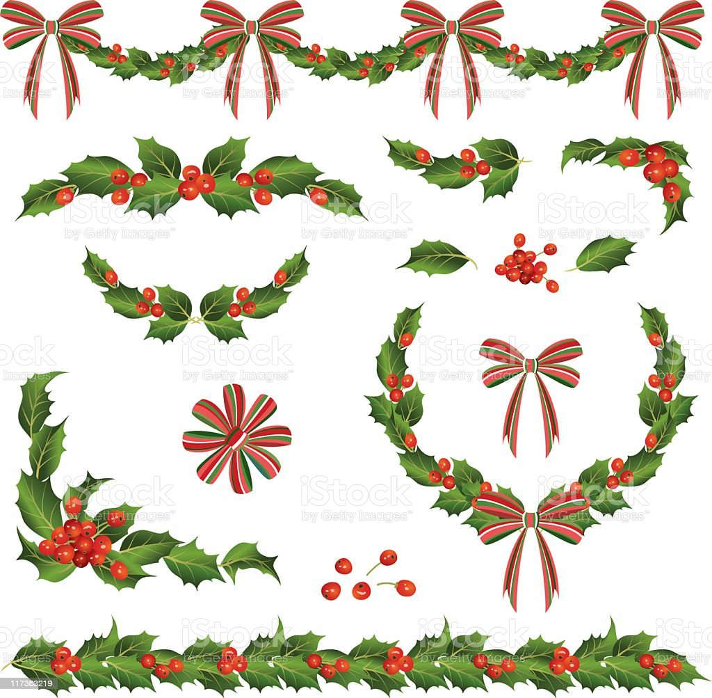 Various Retro Holly and Ribbons Swag,Corner Elements royalty-free various retro holly and ribbons swagcorner elements stock vector art & more images of berry
