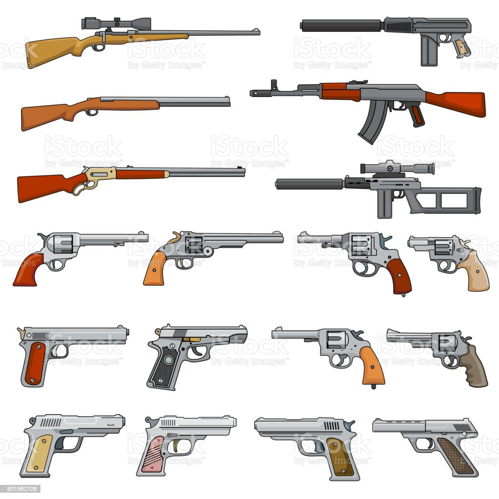 Vetores De Varios Rifle Revolveres E Pistolas Dos Desenhos