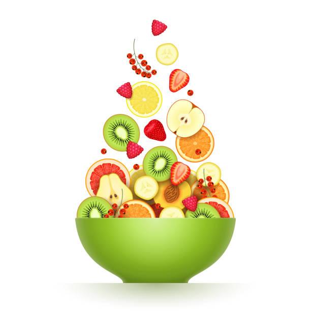 ilustrações, clipart, desenhos animados e ícones de várias frutas maduras e frutos estão caindo em grande tigela verde - fruit salad