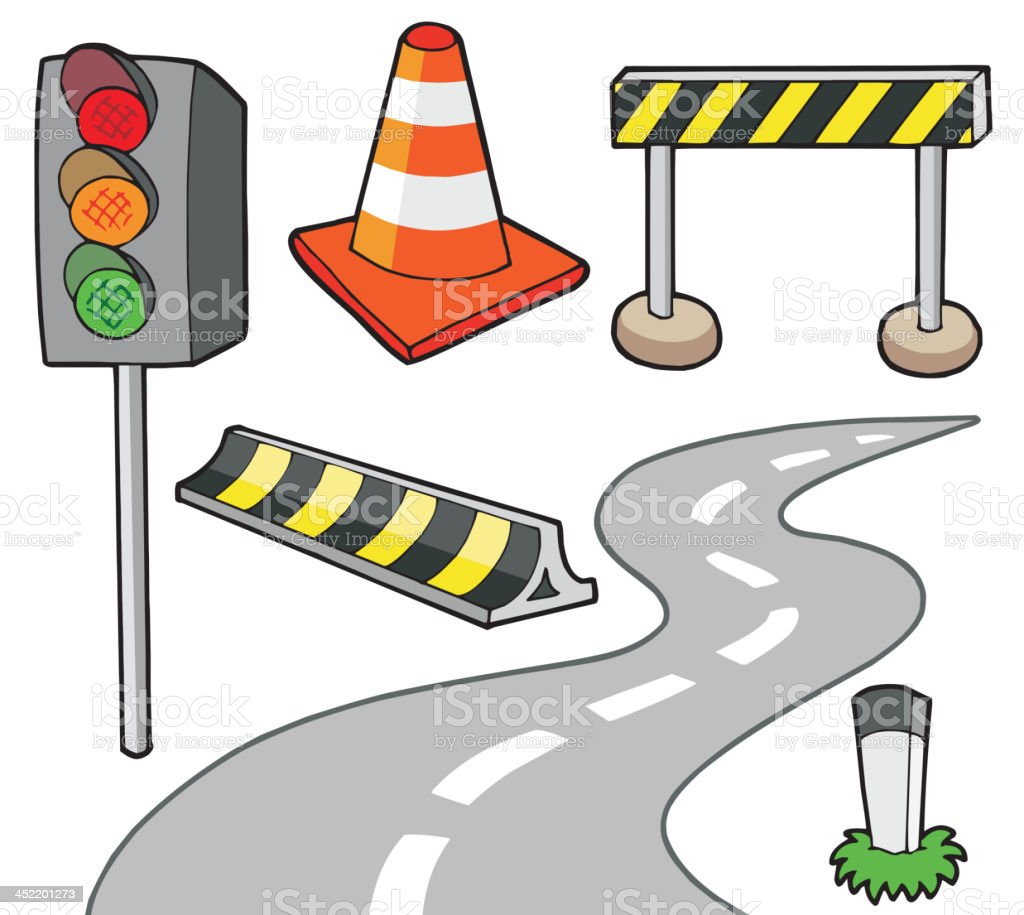Various road objects royalty-free stock vector art