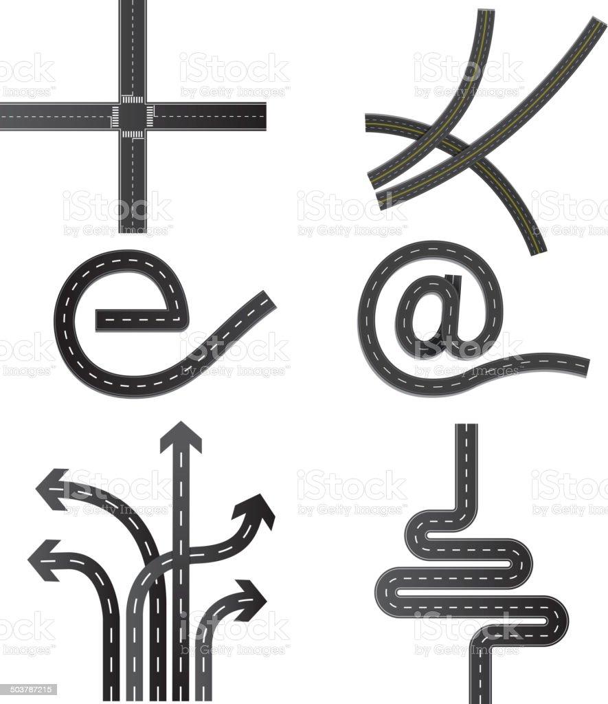 Various road vector art illustration