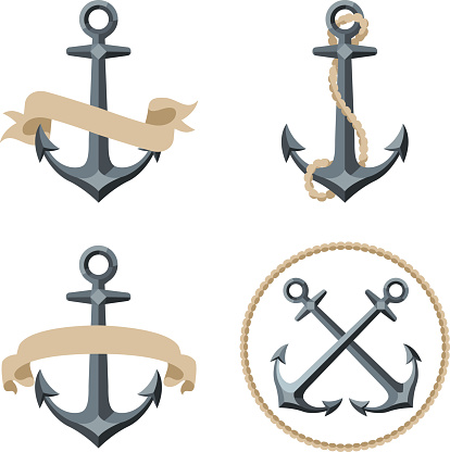 Various sailor anchor emblems with banners or ropes