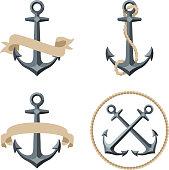 Sailor Anchor Emblem vector illustration.