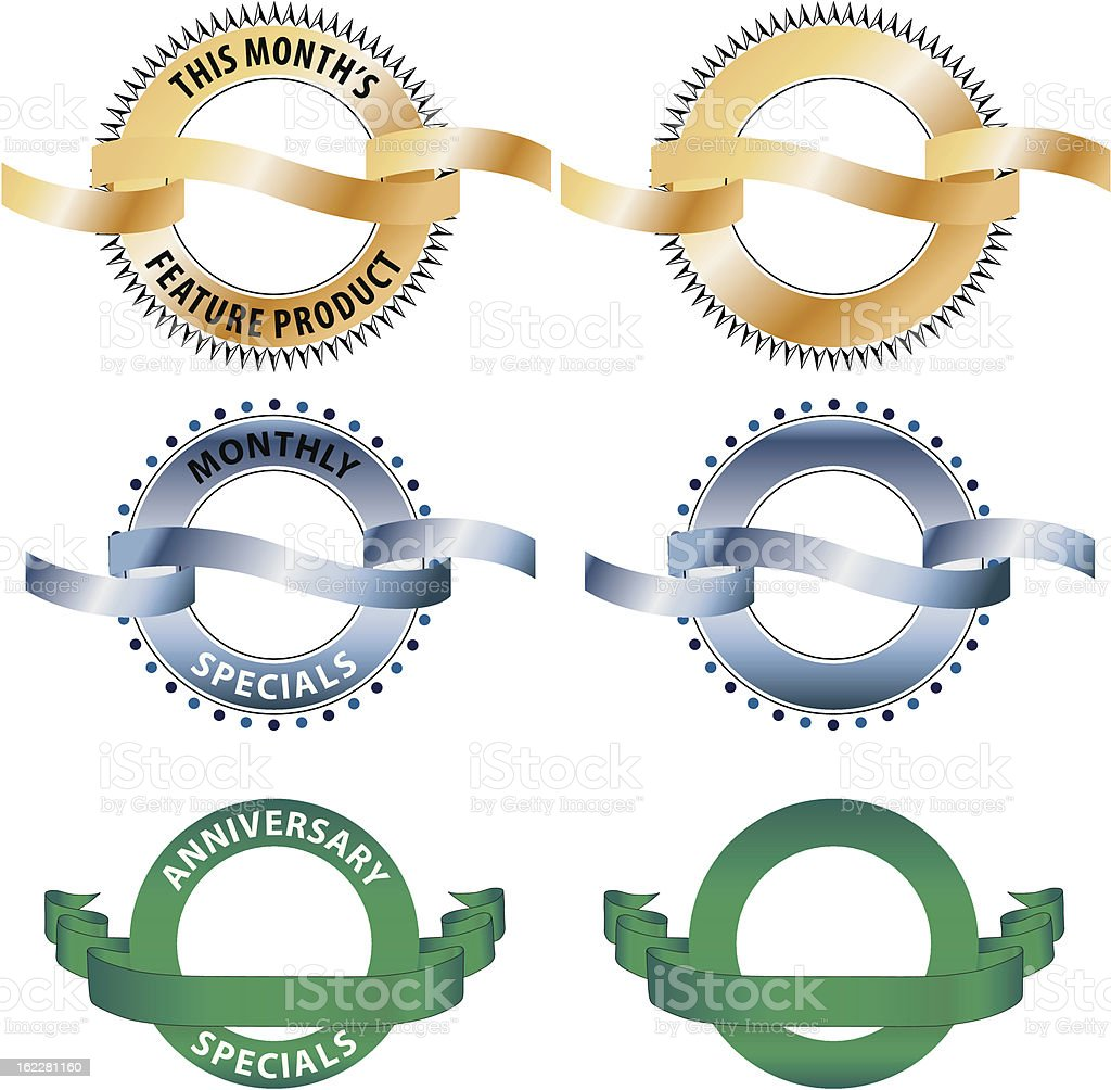Various sample of circle banners vector art illustration