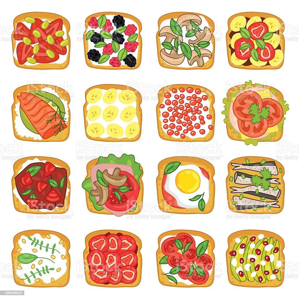 Various sandwiches on white background vector art illustration