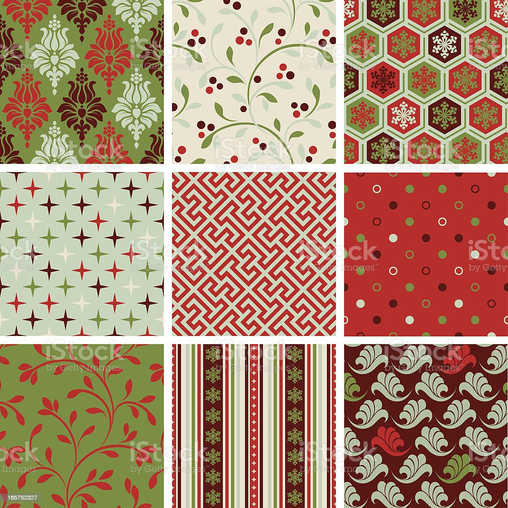 Various seamless Christmas pattern vector art illustration