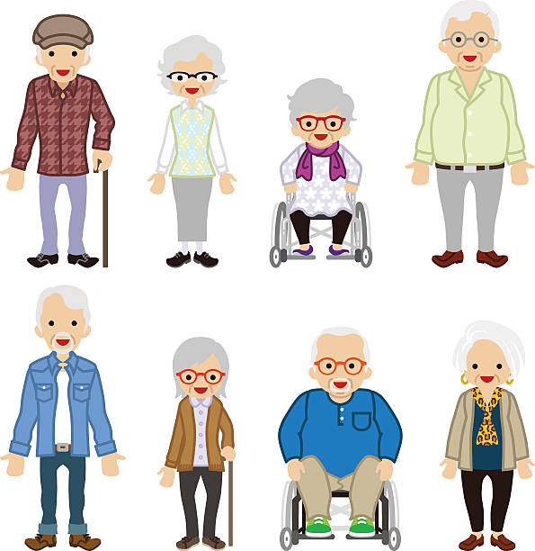 various senior adult set - scarf and hat - old man glasses silhouettes stock illustrations, clip art, cartoons, & icons
