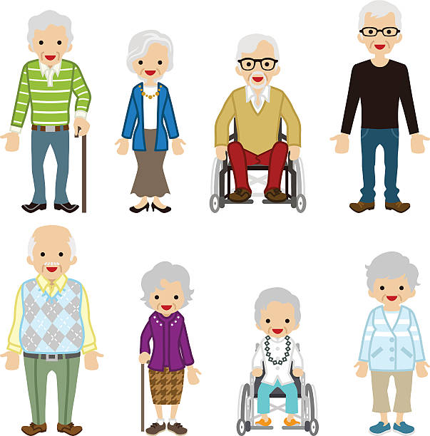 various senior adult set. - old man glasses silhouettes stock illustrations, clip art, cartoons, & icons