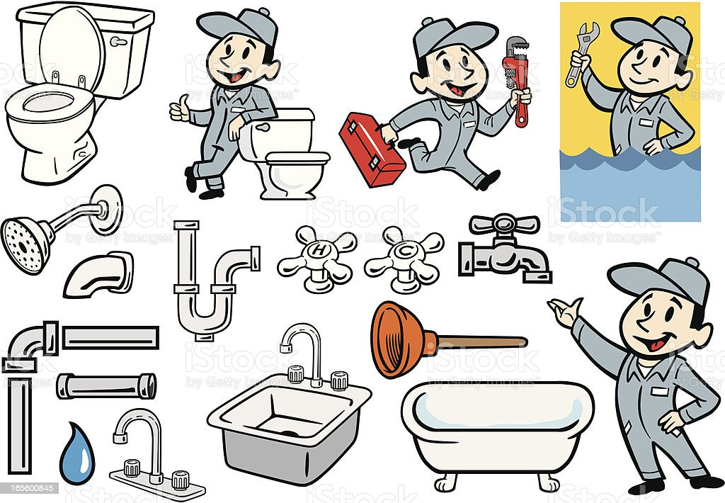Various Set of Plumber, Plumbing and Pipes Illustrations royalty-free stock vector art