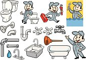 Various Set of Plumber, Plumbing and Pipes Illustrations