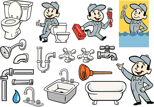 various set of plumber, plumbing and pipes illustrations - plumber stock illustrations, clip art, cartoons, & icons