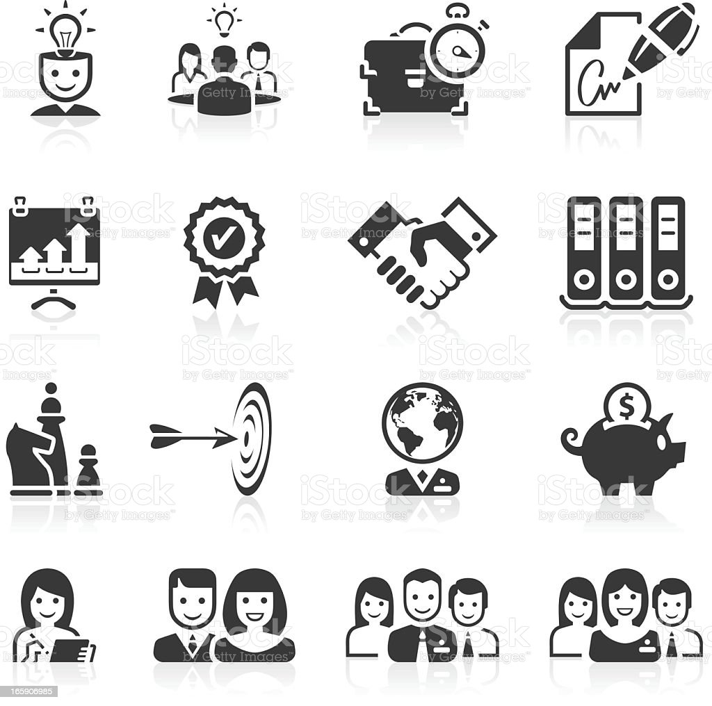 Various sets of business icons black and white vector art illustration
