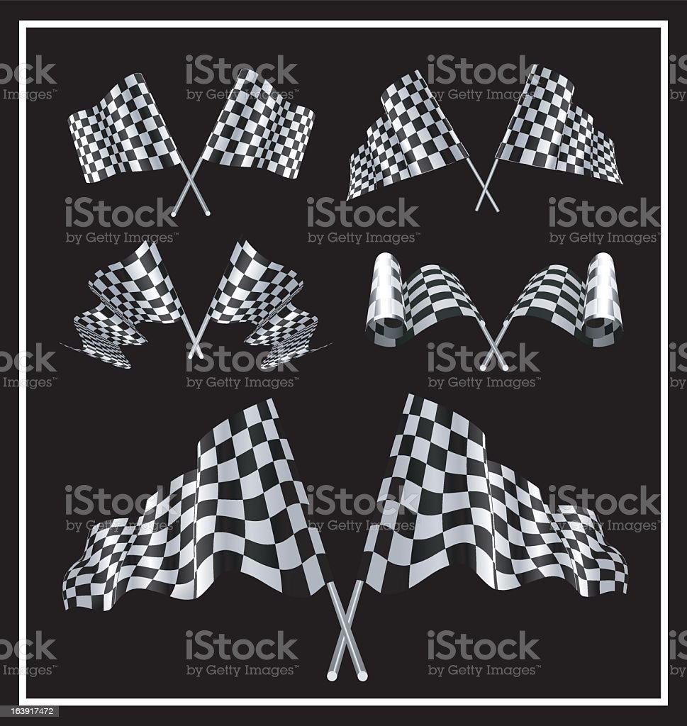 Various sets of checkered flags on black background royalty-free stock vector art