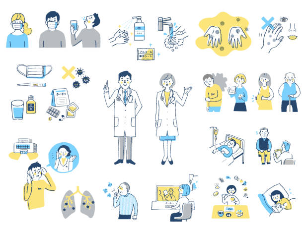 Various sets of infection control and prevention by virus Medical, disease, illness, people, healthcare biomedical illustration stock illustrations