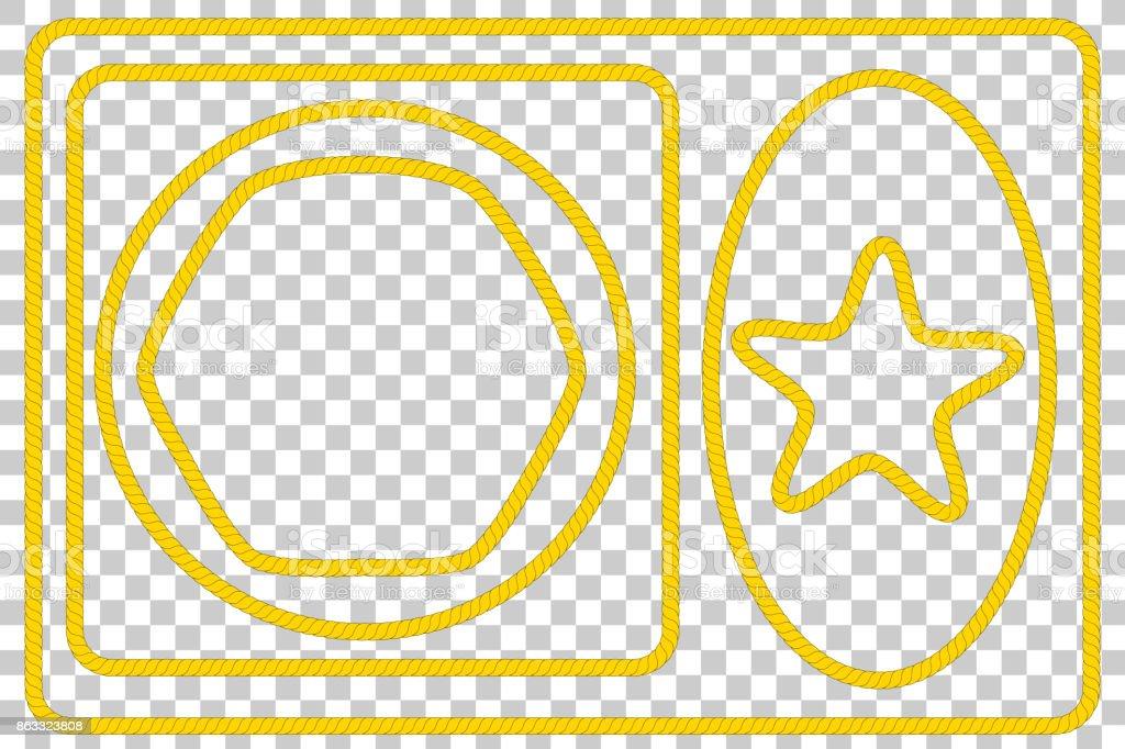Olika form: Frame från brunt rep för ditt Element Design på Transparent effekt bakgrund vektorkonstillustration