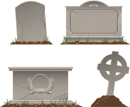 color vector image of various tombstones