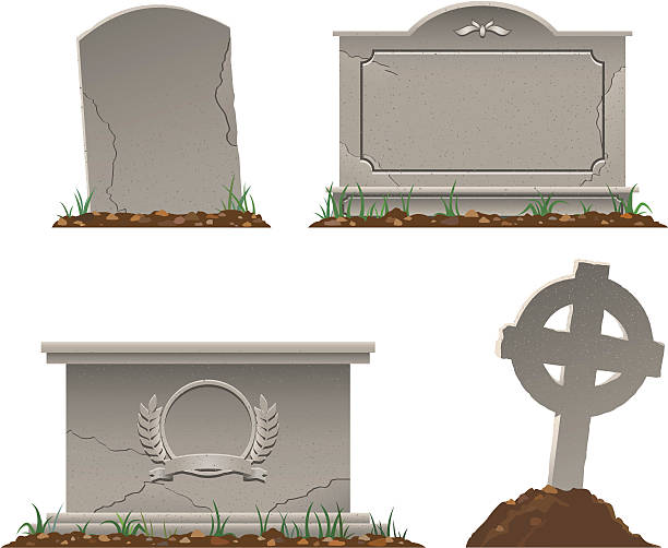 various shapes and sizes of tombstones - tombstone stock illustrations