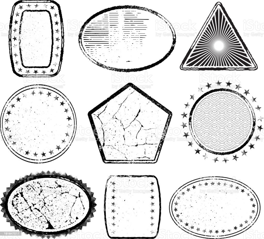 Various Shapes on Black and White Grunge Texture royalty-free stock vector art