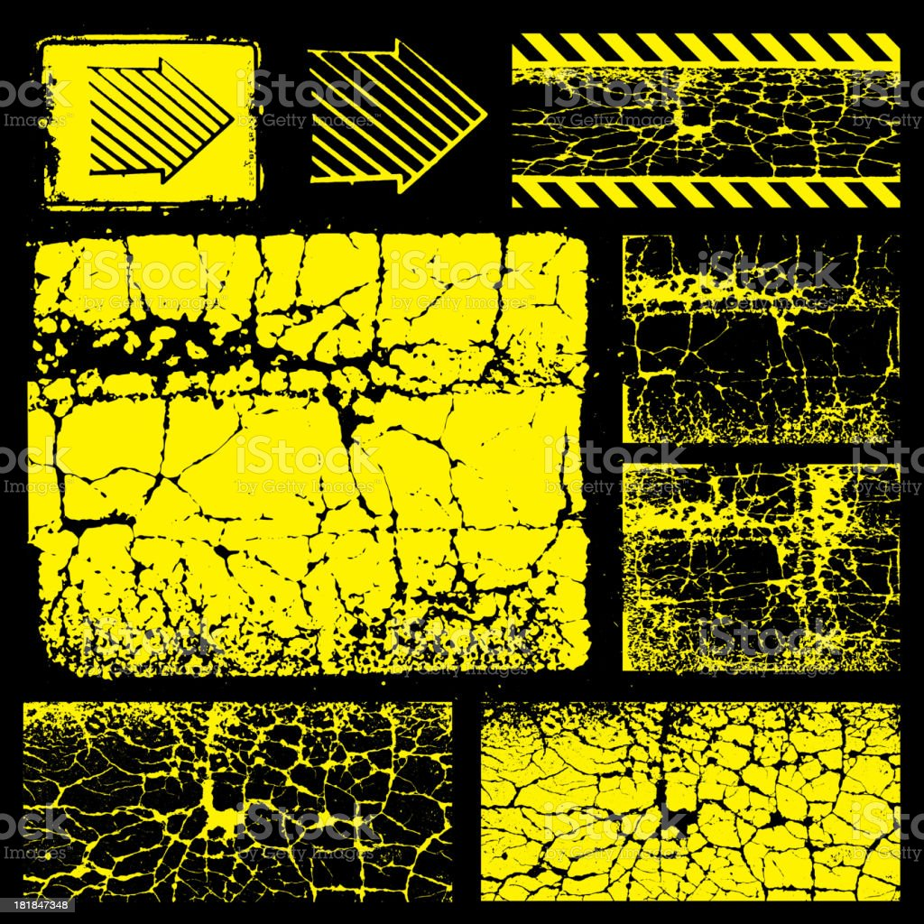 Various Shapes on Black and Yellow Grunge Texture vector art illustration