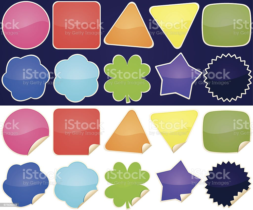 Various Shiny Stickers royalty-free various shiny stickers stock vector art & more images of blank