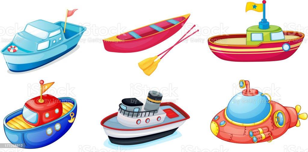 Various ships royalty-free stock vector art