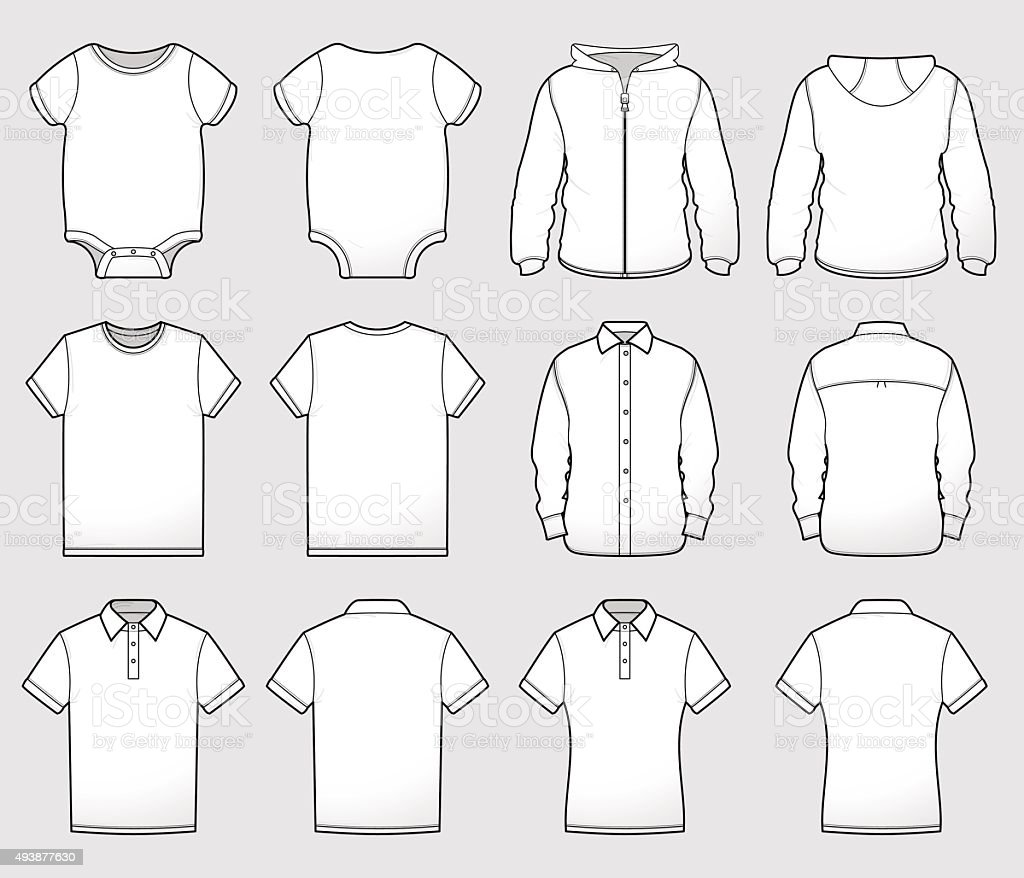 Various Shirt Templates Front and Back vector art illustration