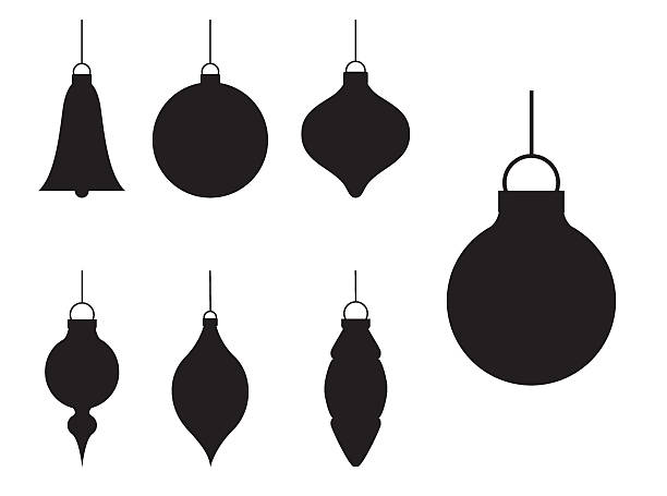 Various Silhouette Christmas Baubles Various different styles of Christmas bauble ornaments in silhouette. christmas ornament stock illustrations