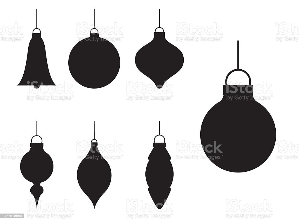 Various Silhouette Christmas Baubles vector art illustration