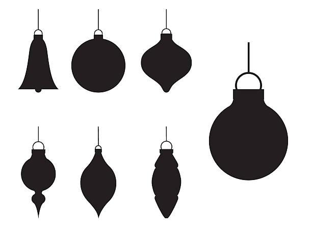 illustrations, cliparts, dessins animés et icônes de nombreux silhouette de décorations de noël basiques - boule de noel