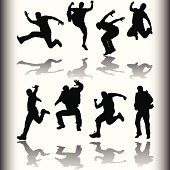 Various silhouette of an active youth with reflections