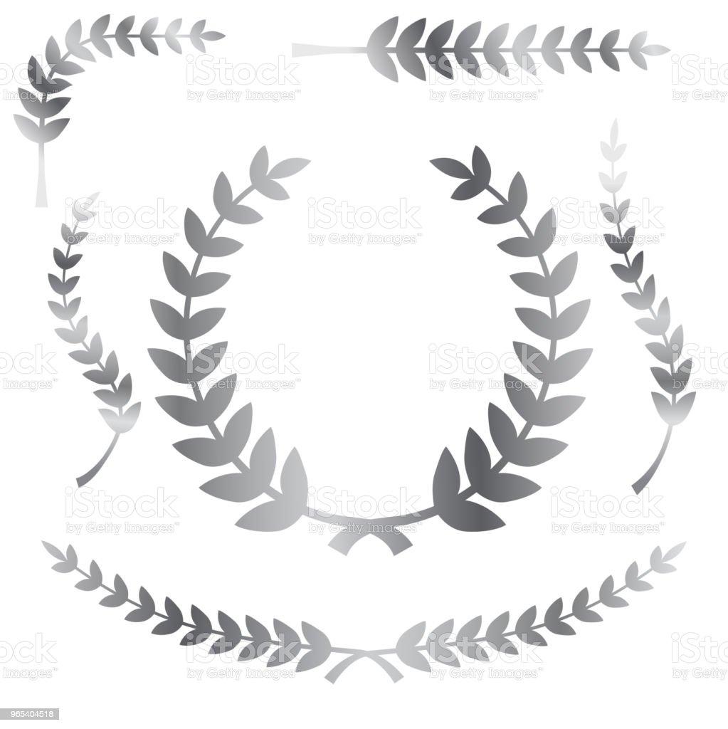 various simple shape chrome or silver laurel wreath vector icon, for your title border - Grafika wektorowa royalty-free (Bazgroły - Rysunek)