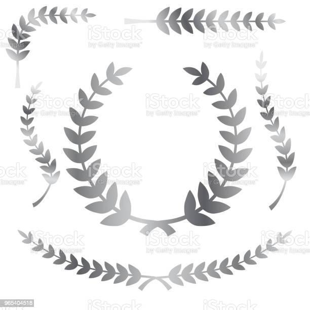 Różne Prosty Kształt Chromowany Lub Srebrny Laur Wieniec Wektor Ikona Dla Obramowania Tytułu - Stockowe grafiki wektorowe i więcej obrazów Bazgroły - Rysunek